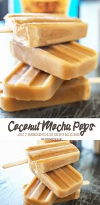 Coconut Mocha Pops are made with just 2 simple ingredients & take minutes to make. I'm sure they'll be your favorite homemade popsicle recipe this summer.