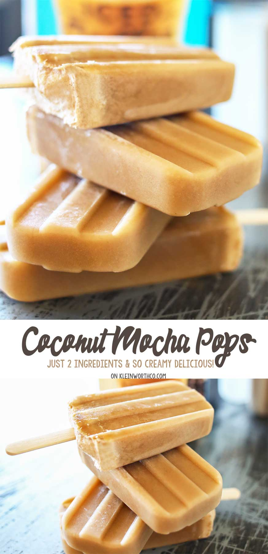 2 Ingredient Coconut Mocha Pops are made with just 2 simple ingredients & take minutes to make. I'm sure they'll be your favorite homemade popsicle recipe this summer.