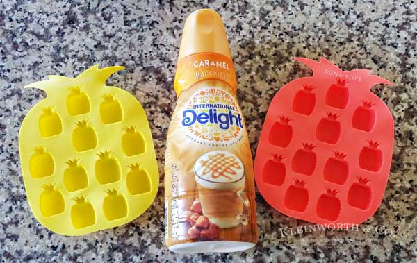 Fun Summer Frozen Creamer is the perfect thing to add to your iced coffee. Make them in any fun shape you like. Pineapples are perfect for a pool party.