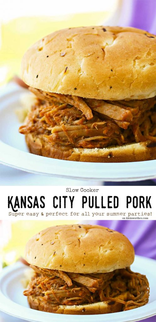 Kansas City Pulled Pork is almost effortless because it's made in the slow cooker. YUM-O!