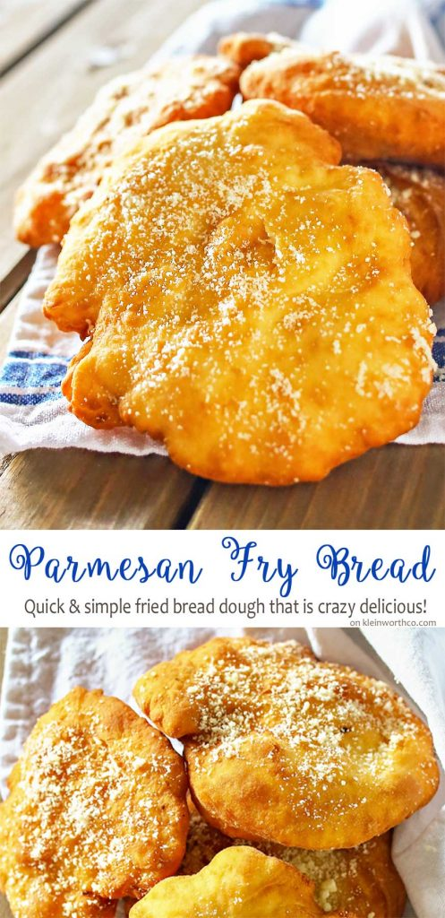 Parmesan Fry Bread is an easy and simple bread dough is quickly fried and sprinkled with parmesan cheese. Delicious addition to so many dinner recipes!