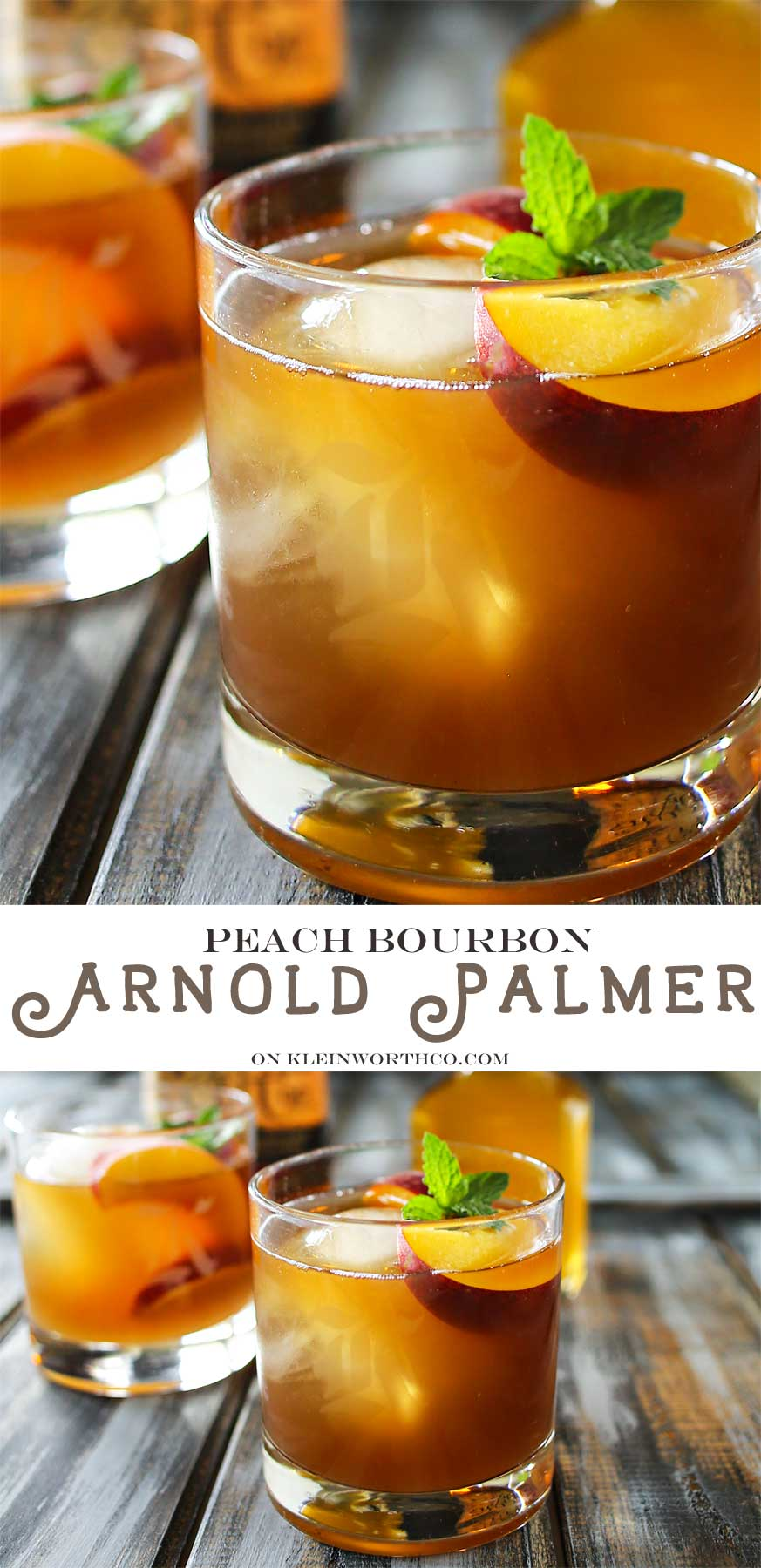Peach Bourbon Arnold Palmer, a delightful twist on a classic refreshment. Take an Arnold Palmer & add bourbon & peach liqueur for a perfect summer cocktail.