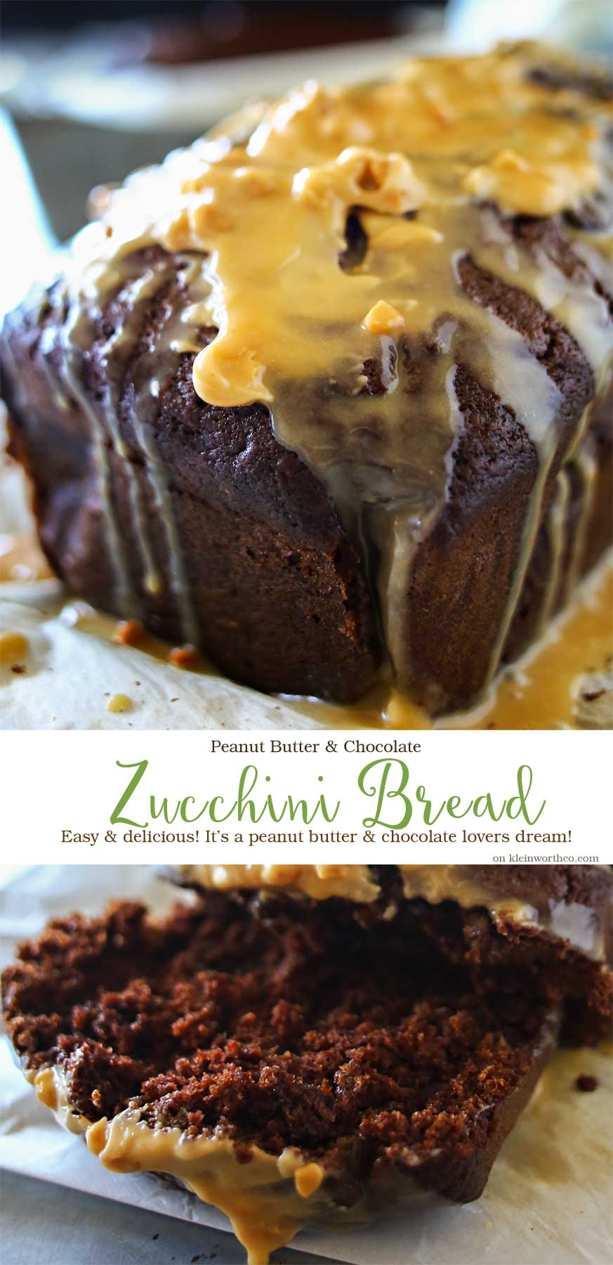 Peanut Butter Chocolate Zucchini Bread is an easy zucchini bread recipe that is absolutely scrumptious.