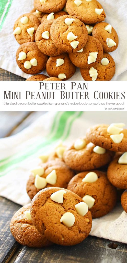 Peter Pan Peanut Butter Cookies are mini, soft & chewy peanut butter cookies with white chocolate chips. Perfect for the peanut butter lover in your life!!