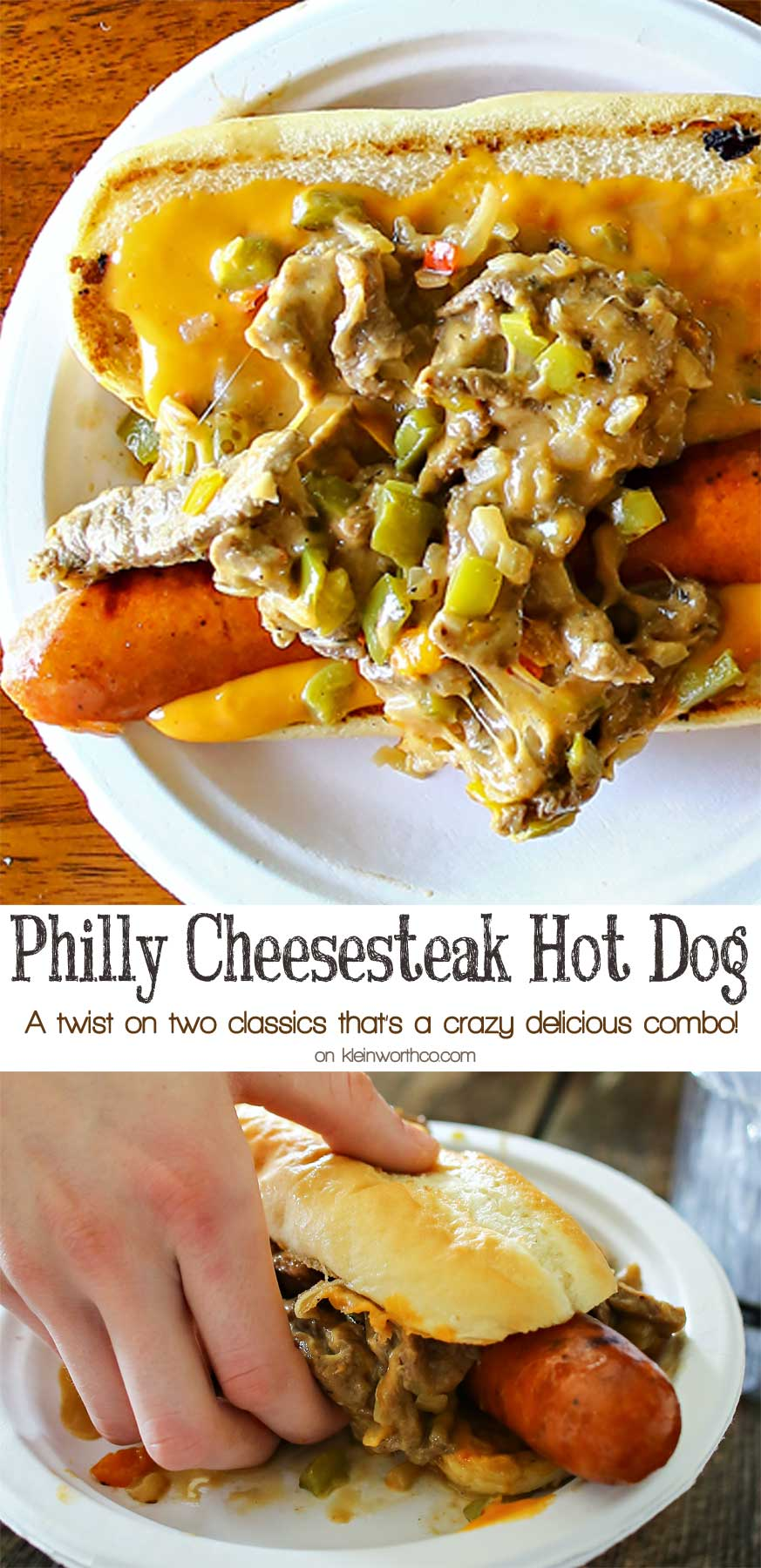 Philly Cheesesteak Hot Dog is a twist on two iconic food recipes. Combining grilled hot dogs & the best philly cheesesteak recipe is over the top amazing!