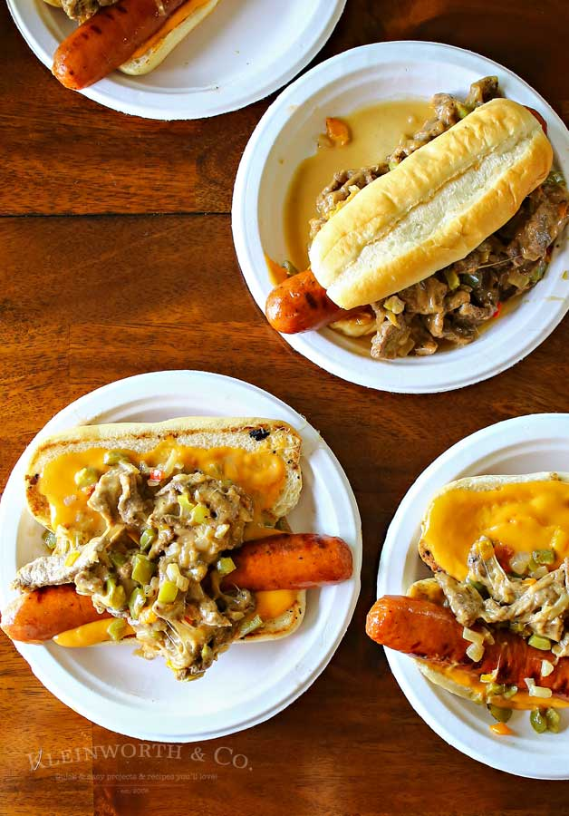 Combining grilled hot dogs & the best philly cheesesteak recipe is over the top amazing!