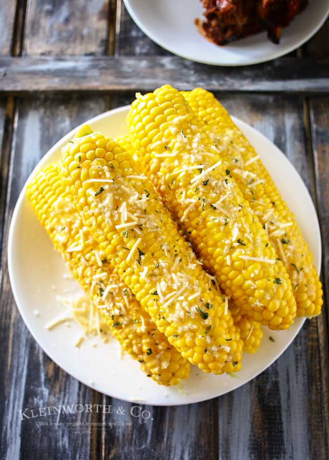 Sea Salt Garlic Corn is a delicious twist to the classic BBQ side dish. This corn on the cob recipe will keep them coming back for more all summer.