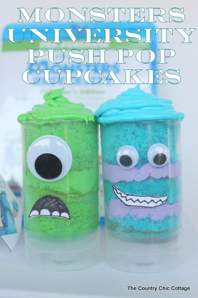 monsters university push pop cupcakes