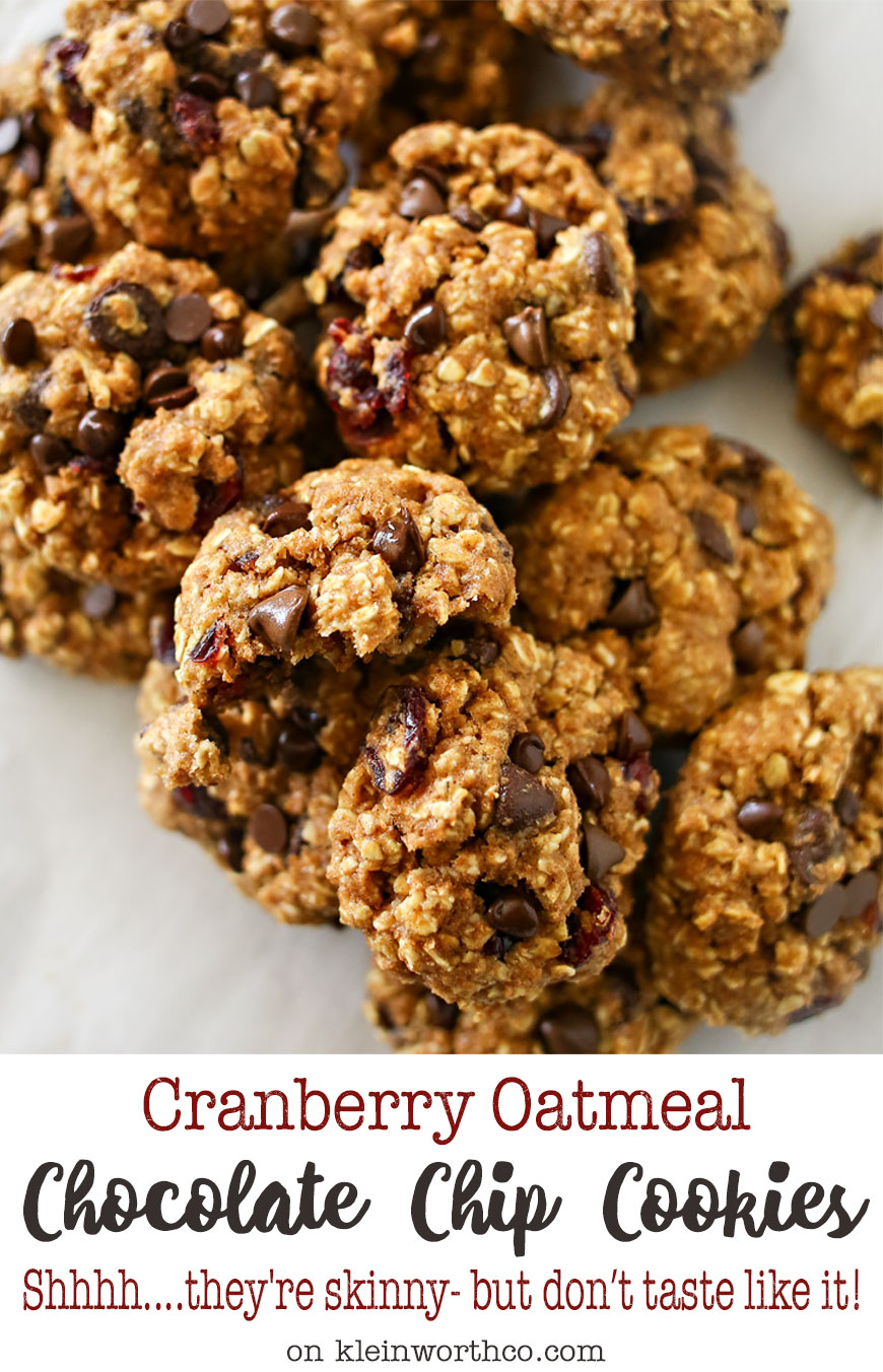 Skinny Cranberry Oatmeal Chocolate Chip Cookies