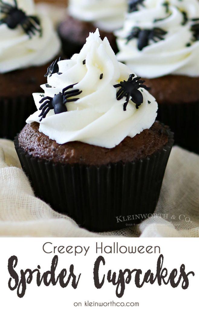 Creepy Halloween Spider Cupcakes