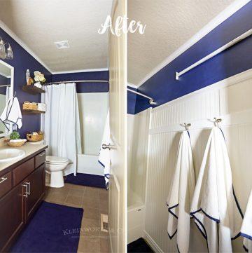 Nautical Navy & White Bathroom Makeover