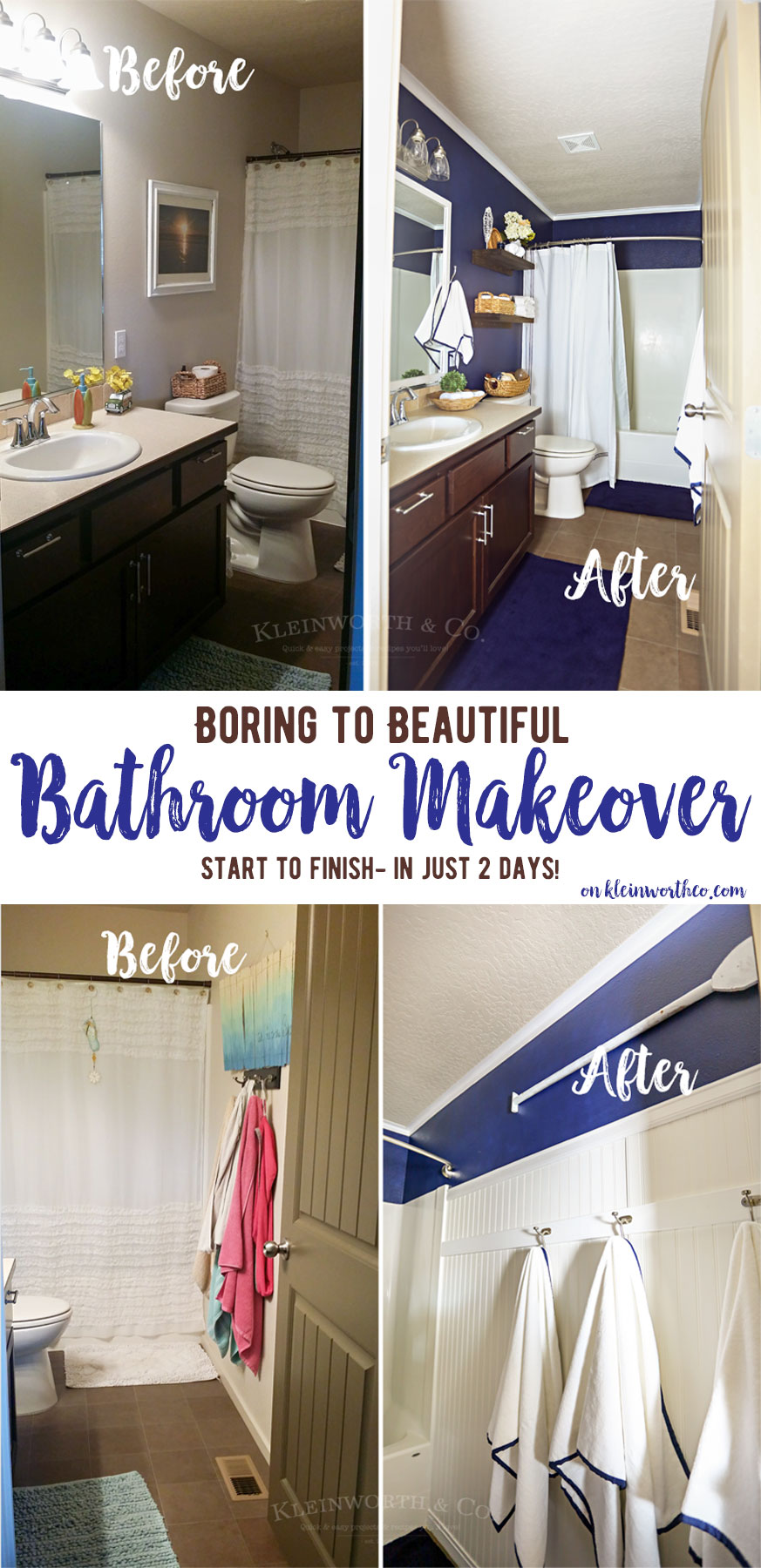 Nautical Navy & White Bathroom Makeover