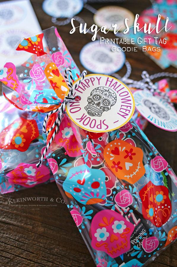 Sugar Skull Printable Gift Tag Goodie Bags