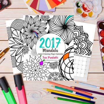 2017 Mandala Adult Coloring Page Calendar Free Printable