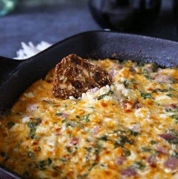 Ham & Cheese Hot Spinach Dip
