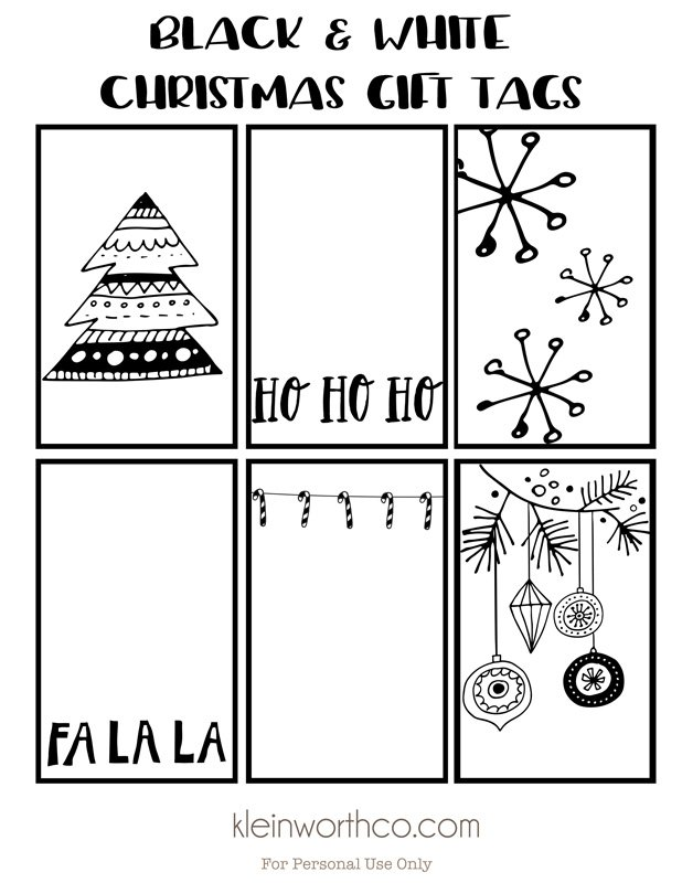 Universal image in printable christmas tags black and white