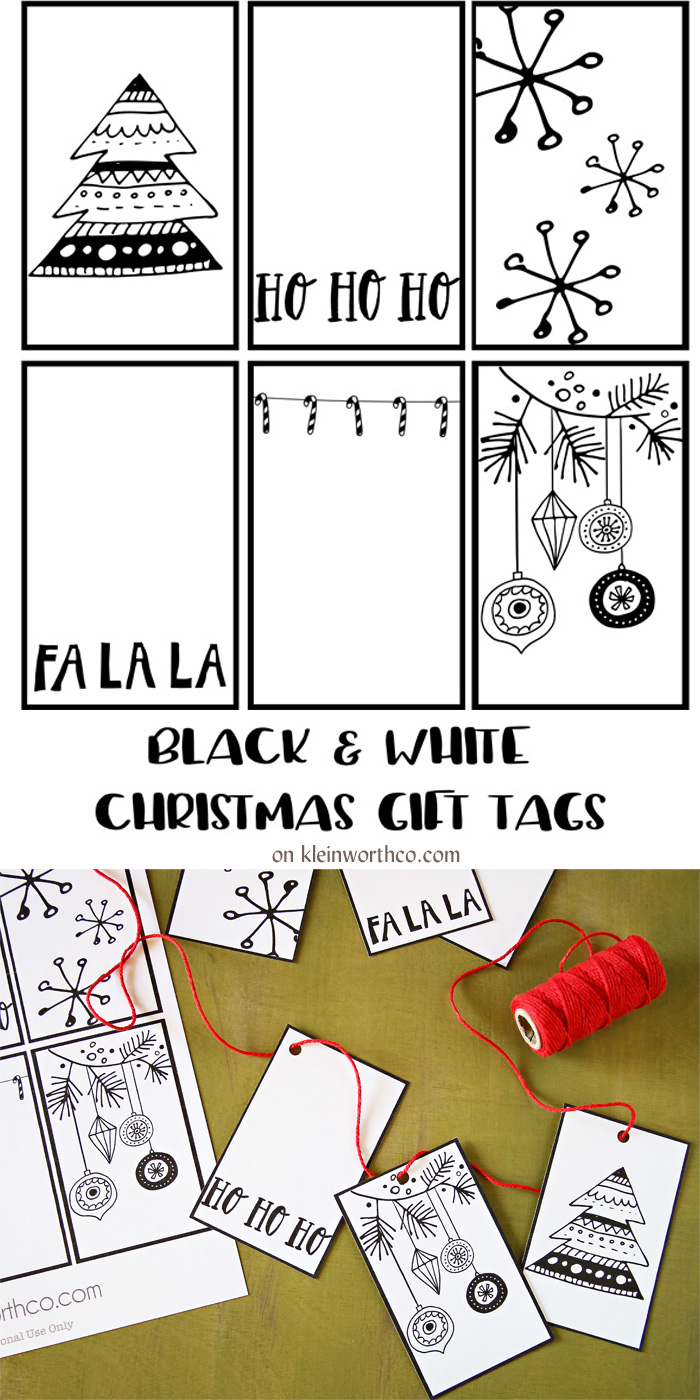 Black White Free Printable Gift Tags & Guy Gift Idea - Kleinworth & Co