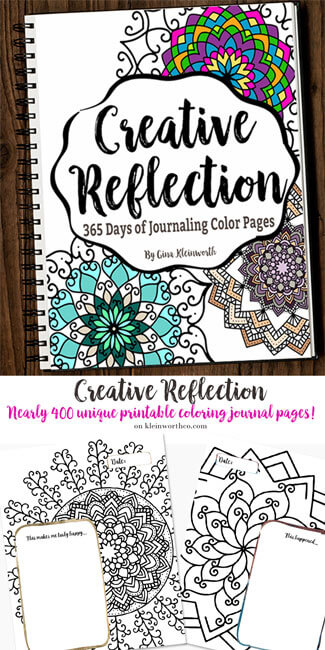 Creative Reflection - 365 Days of Journaling Color Pages- Adult Coloring - Bullet Journal