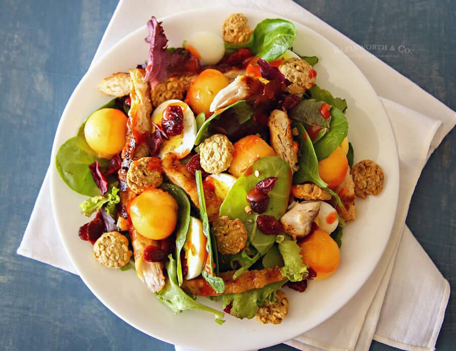 Cantaloupe & Chicken Salad w/ Sunflower Seed Crunchy Bites