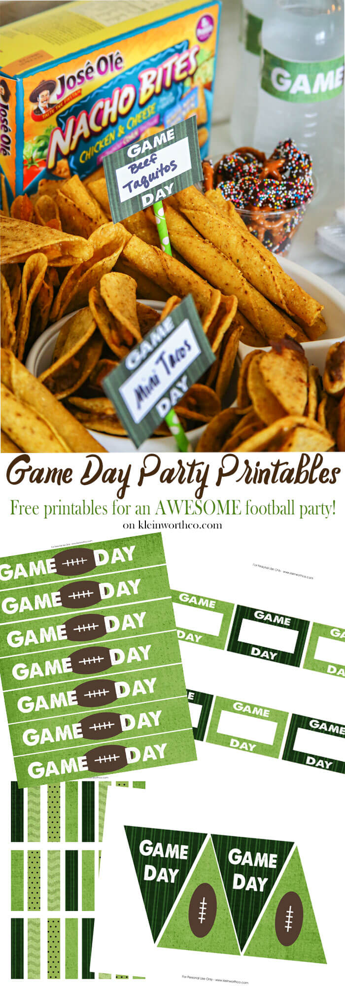 Game Day Party Printables