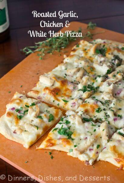 Roasted Garlic Chicken Herb White Pizza