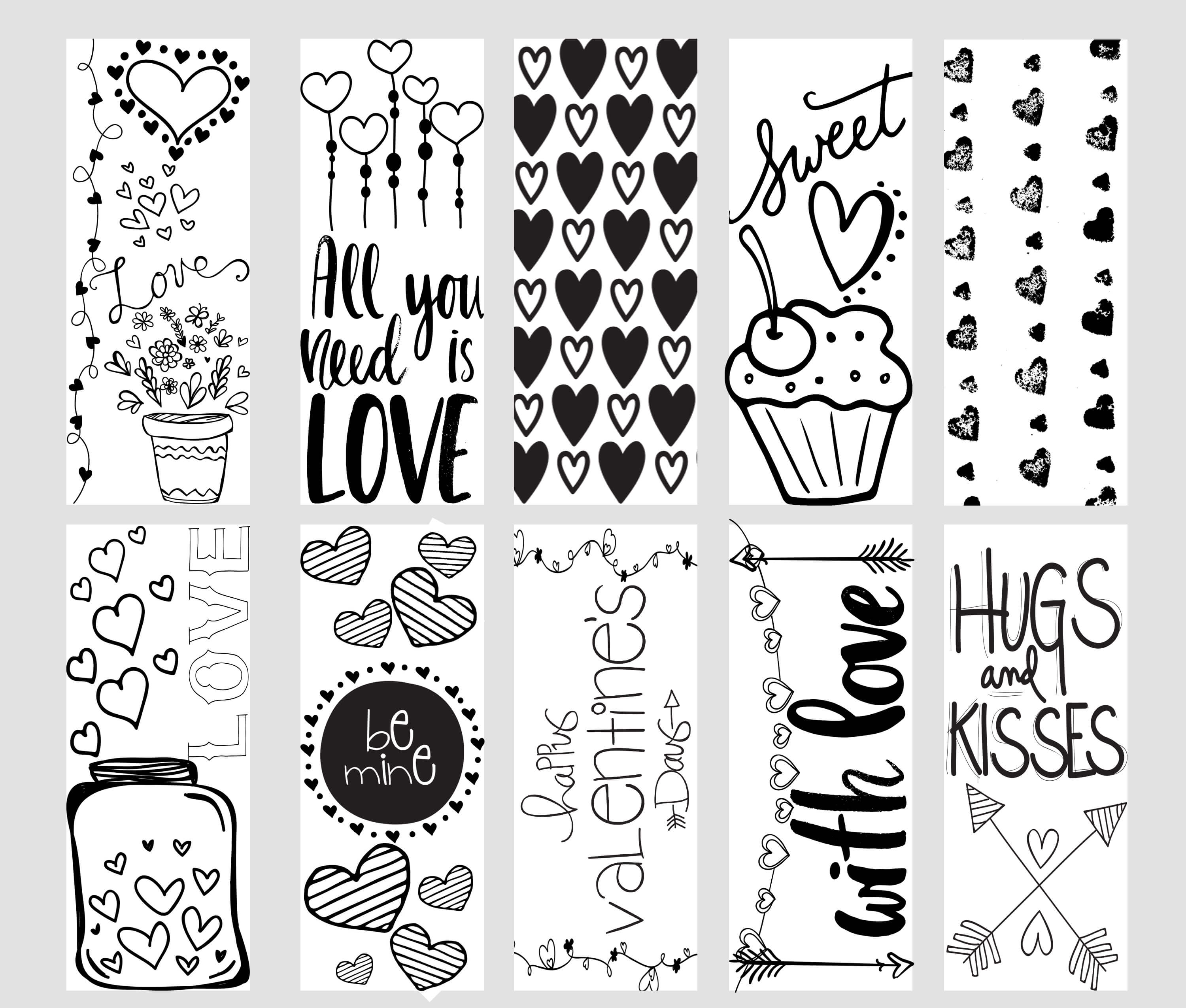 valentine printable coloring page bookmarks