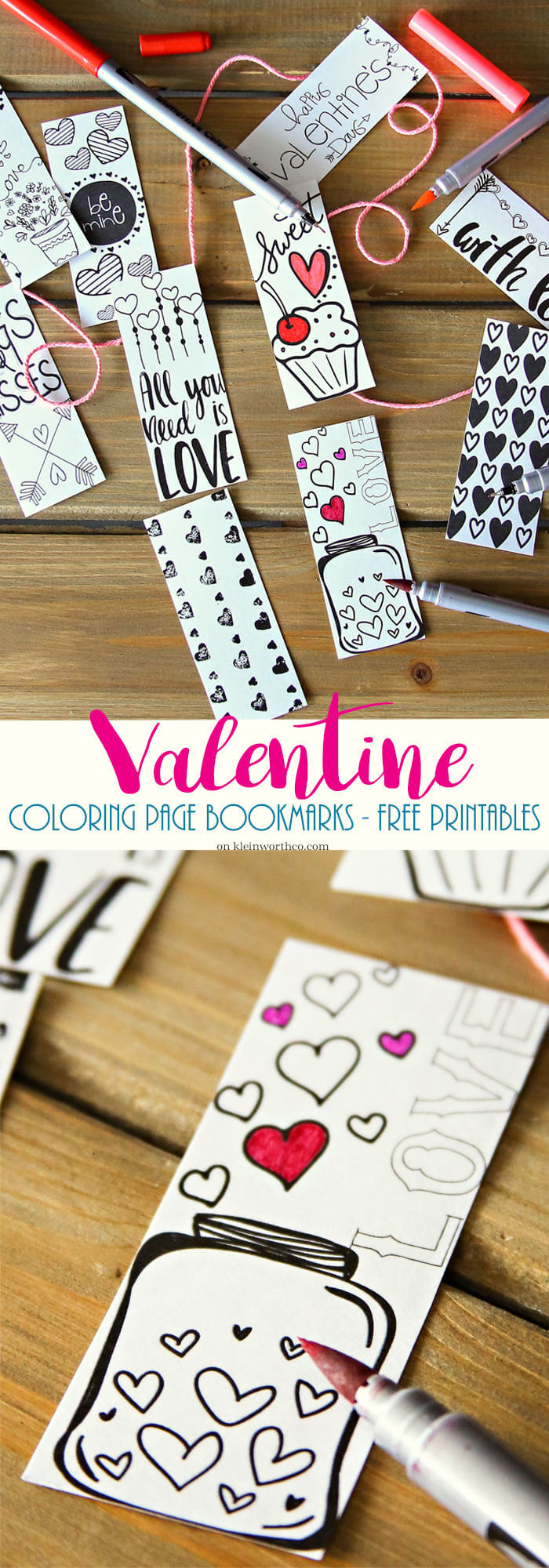 Valentine bookmark to color - Valentine Printable Coloring Page Bookmarks