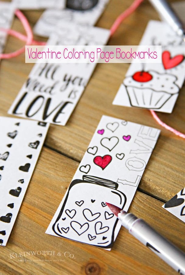 Valentine Printable Coloring Page Bookmarks Kleinworth Co