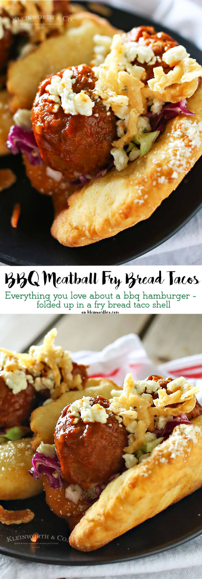 BBQ Meatball Fry Bread Tacos