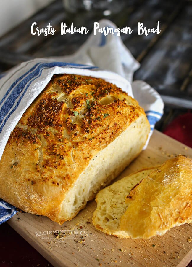 Crusty Italian Parmesan Bread is one of the easiest bread recipes around. Perfect with just about any dinner, one loaf never lasts long. It's delicious.