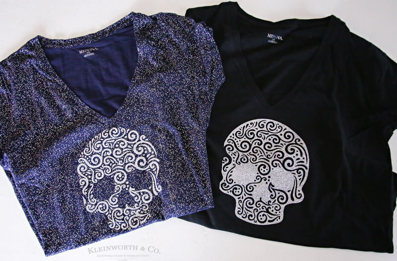 Sugar Skull Iron On Glitter Shirt