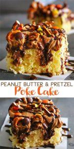 Peanut Butter Pretzel Poke Cake