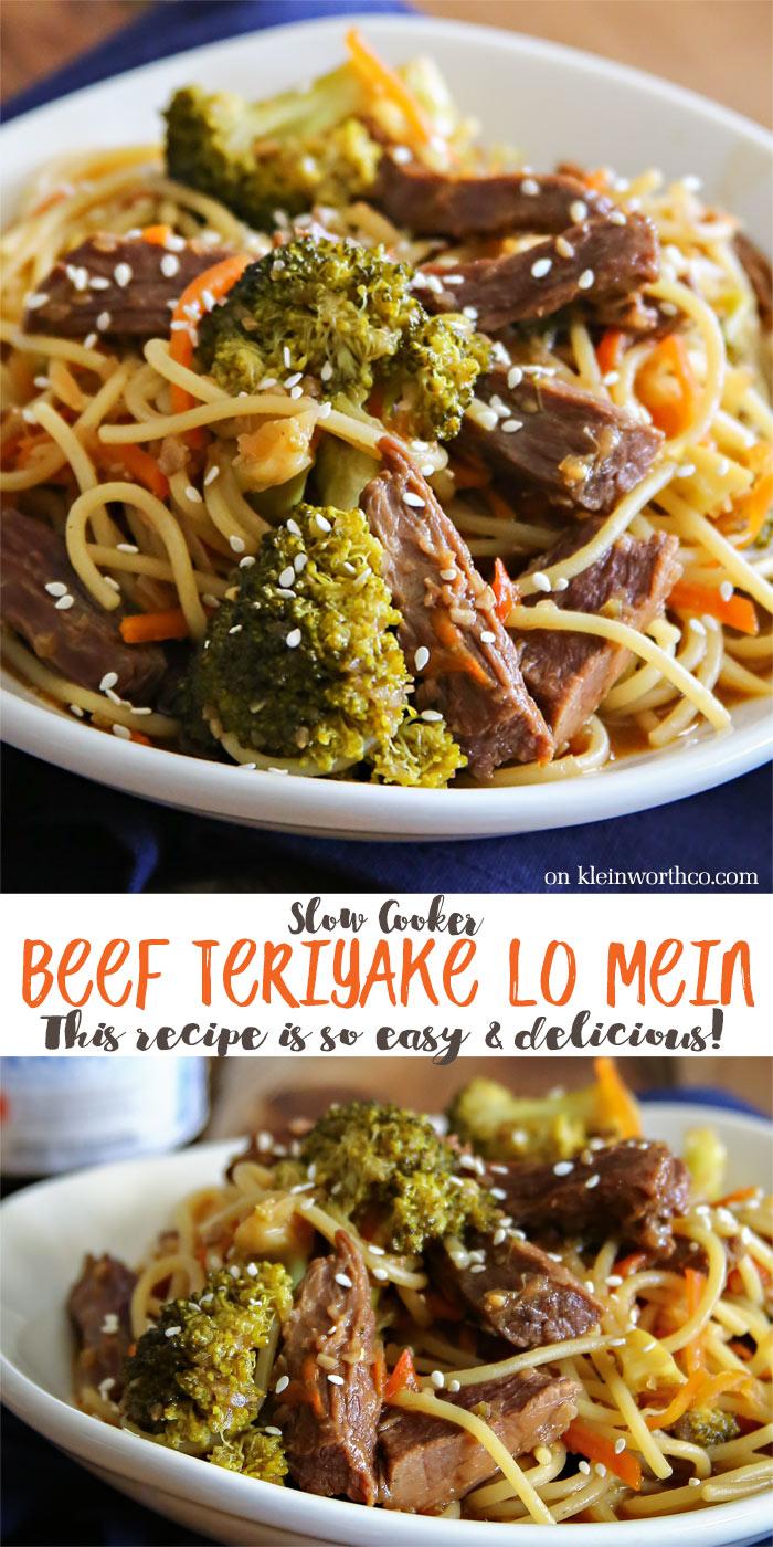 Slow Cooker Teriyake Beef Lo Mein
