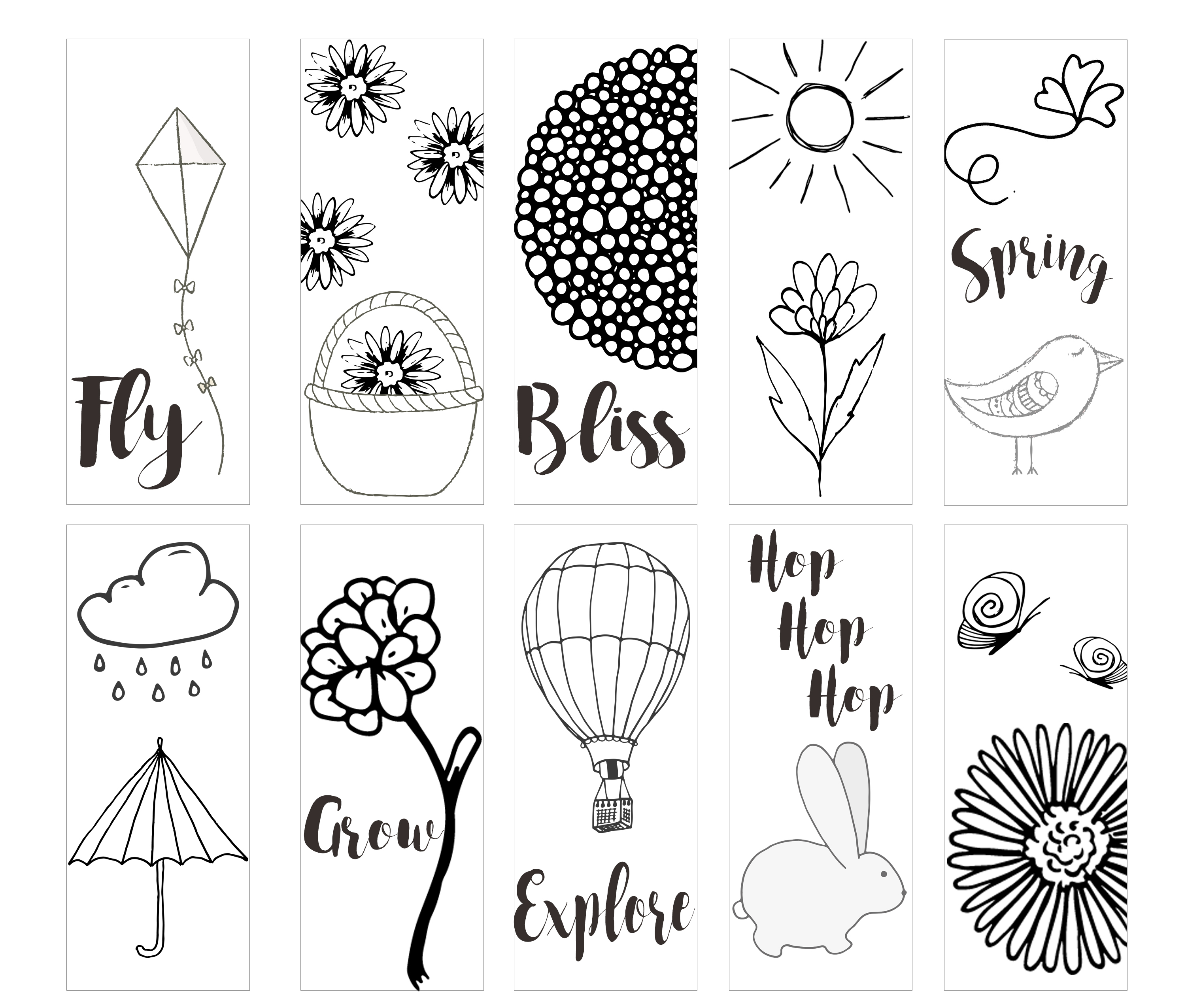 Valentine bookmark to color - Download Spring Printable Coloring Page Bookmarks Here