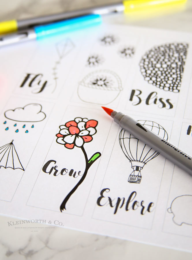 Spring Printable Coloring Page Bookmarks