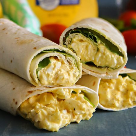 Egg Salad Spinach Wraps