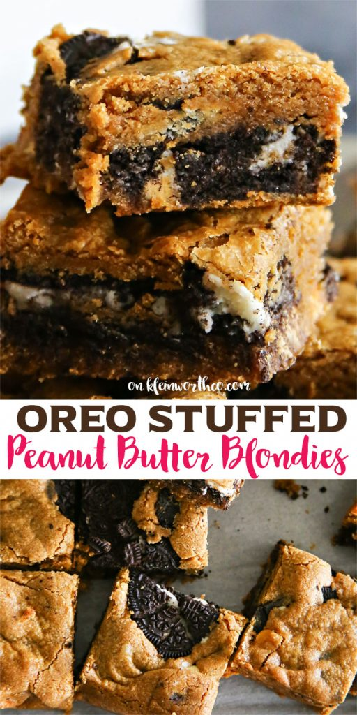 Oreo Stuffed Peanut Butter Blondies