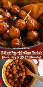 20-Minute Pepper Jelly Glazed Meatballs - easy meatball recipe