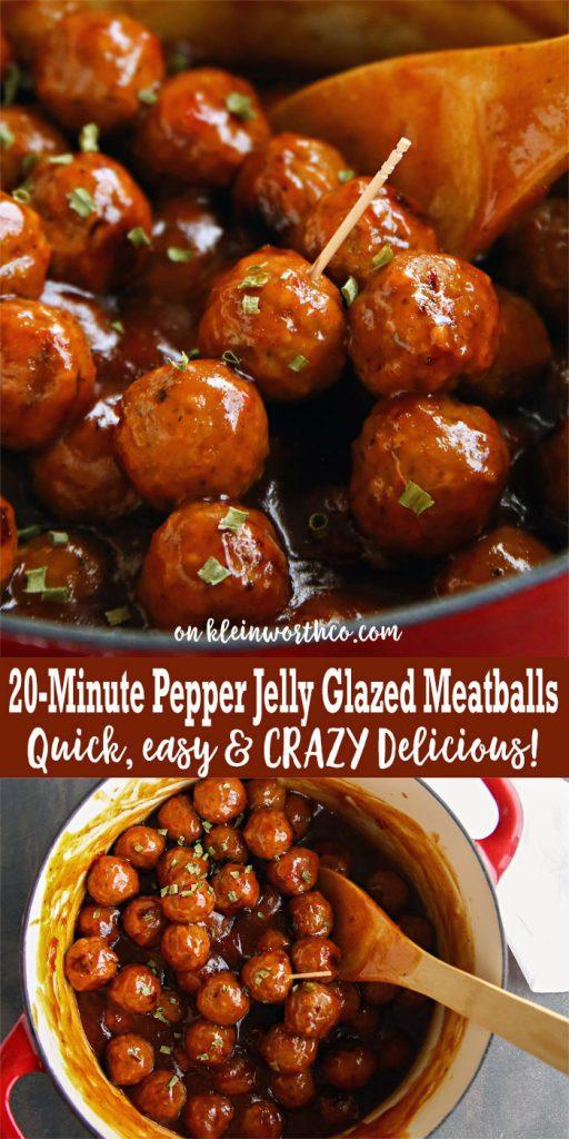 20-Minute Pepper Jelly Glazed Meatballs - easy meatball recipe