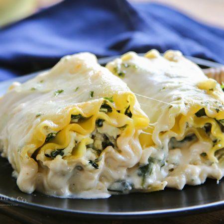 Chicken Spinach Alfredo Lasagna Roll-Ups