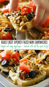 Roast Beef Open Faced Mini Sandwich - a great use of leftovers & fresh off the block cheese. Simple, easy & a delicious appetizer & 4 other tasty snacks too!
