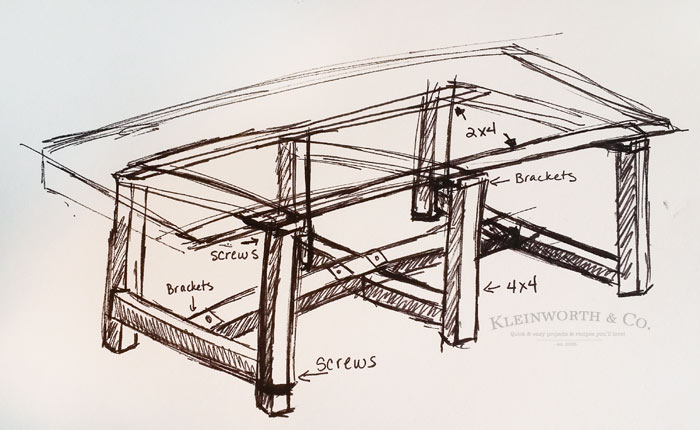 DIY Pallet Outdoor Dining Table Sketch Plans