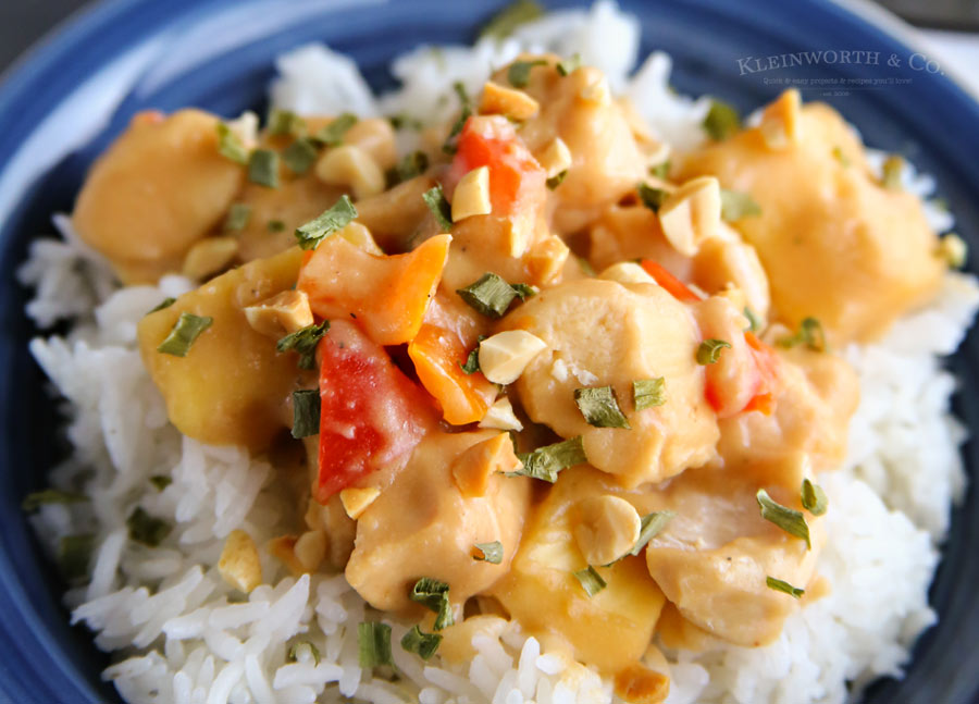 Slow Cooker Thai Pineapple Peanut Chicken - easy dinner recipe