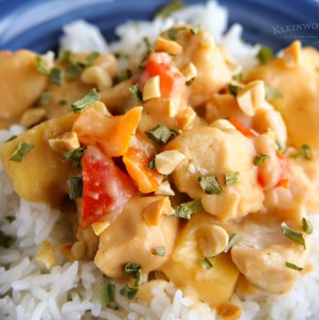 Slow Cooker Thai Pineapple Peanut Chicken - best easy recipe