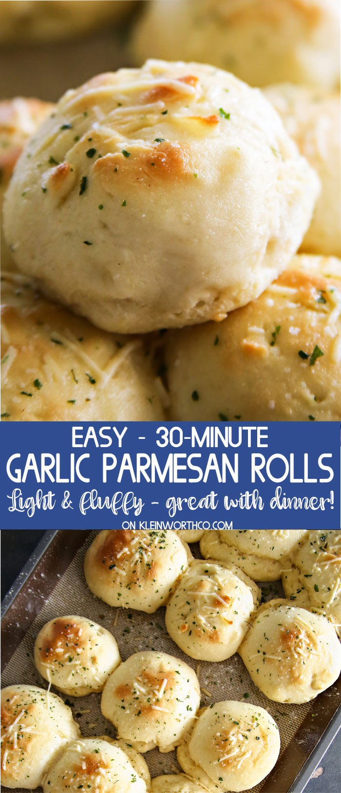 30-Minute Garlic Parmesan Dinner Rolls