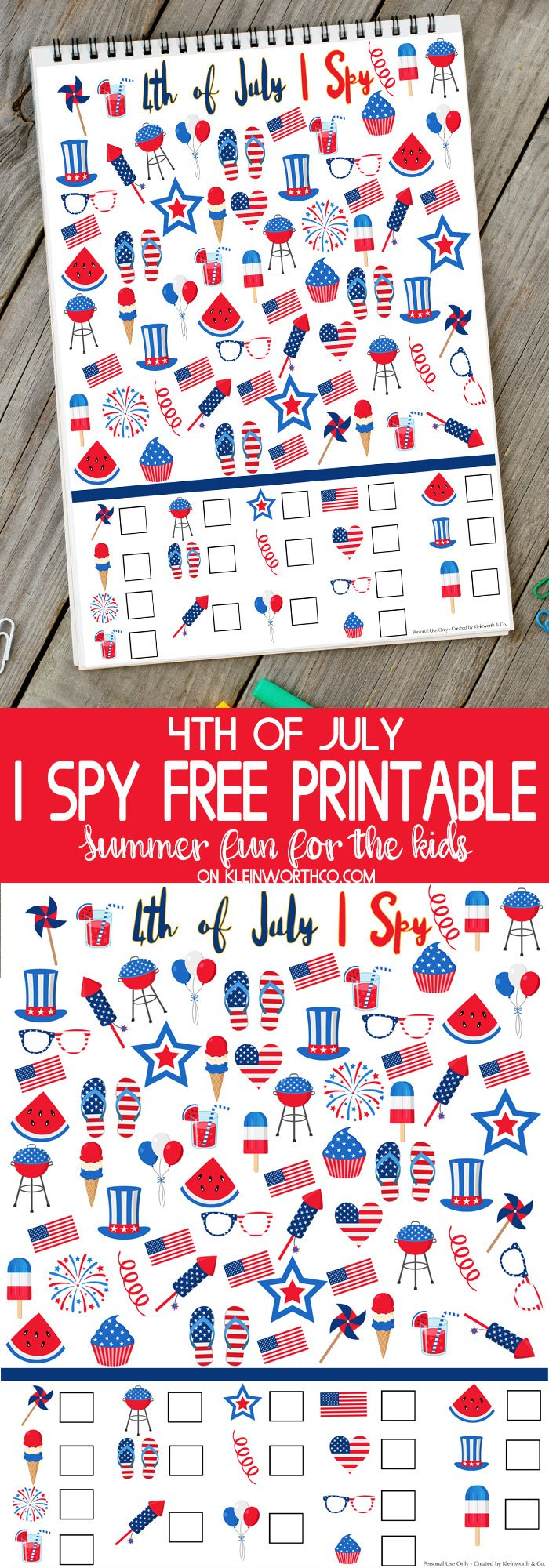 4th of July I Spy Printable- Best Summer Printables for Kids