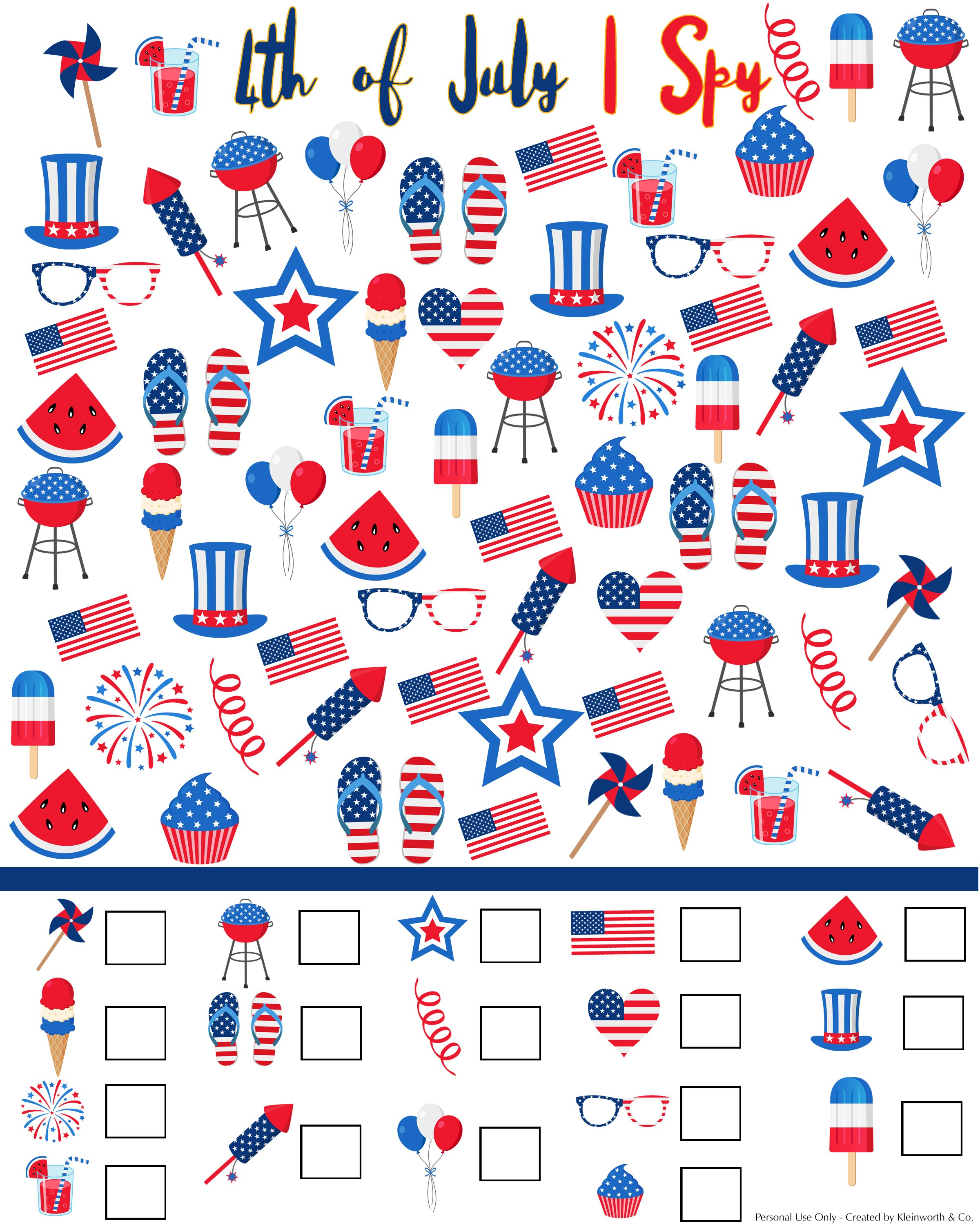 graphic about I Spy Printable referred to as 4th of July I Spy Printable - Kleinworth Co
