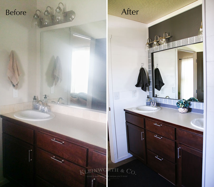 Master Bath Mini Budget Makeover before and after