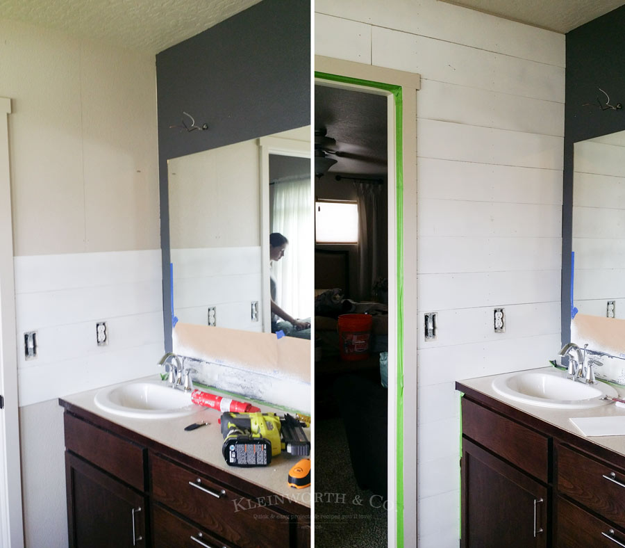 Master Bath Mini Budget Makeover how to add a plank wall