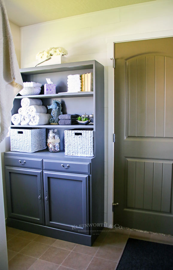 Master Bath Mini Budget Makeover hutch as towel storage